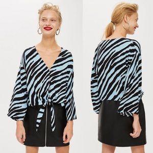 New Topshop Blue Zebra Print Tie Front Blouse